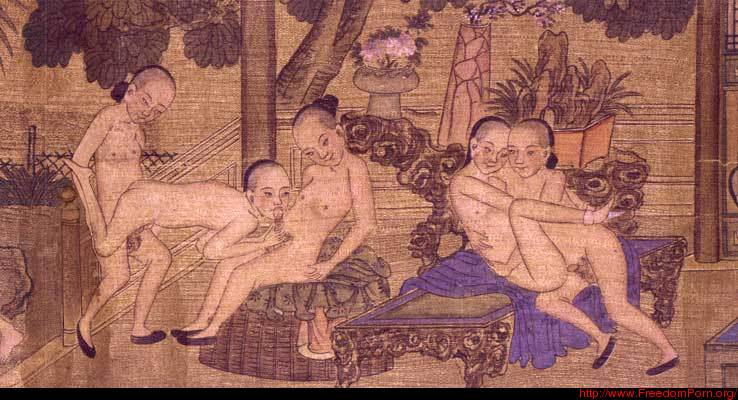 File:young men engaged in erotic play 02 (Beijing hand scroll).jpeg
